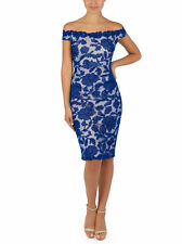 New Montique womens Christiana Lace Midi Dress off shoulder Red/Blue formal even