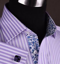 Purple Men's Clothing Business, Formal Shirt Lilac Herringbone Twill Sexy Dress