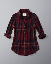 WOMENS ABERCROMBIE & FITCH SIZE SMALL DRAPEY PLAID BUTTON UP SHIRT BURGUNDY NWT