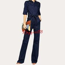 Ladies Womens Casual Jeans Pants Denim Overall Slim Work Jumpsuit Trousers New