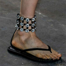 Womens Diamonds Ankle Strap Roman Gladiator Sandals Flats Flip Flops Thongs New
