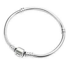 Silver Plated Snake Chain With Barrel Clasp Bead Charms Bangle Bracelet Hot Sale