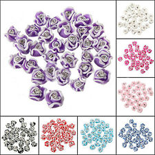 20 Pcs Ceramic Rhinestone 3D Rose Flower Nail Art Decorations Charms Frugal