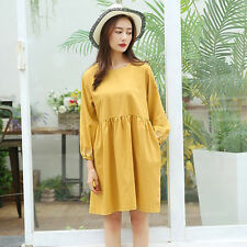 Women's Korean Style Linen Loose Big Size Round Neck Long Sleeve Pregnant Dress