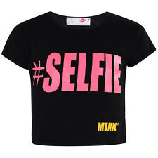 Girls #Selfie Crop Top Short Sleeve Kids Fashion Party Tops Crop 7to13 Year