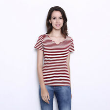Sexy Striped Red & White Ladies Summer Casual Slim Fit V Neck Unique T-Shirt