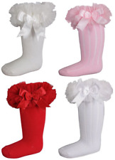 TUTU frilly bow socks girl baby Couche Tot Spanish style knee high