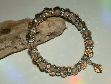 7 x 10mm CHAMPAGNE CRYSTAL GLASS BEADED SILVER STRETCH CHARM BRACELETS MIXED