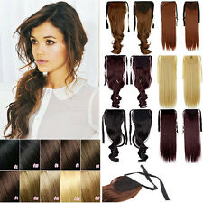 New Tie Up Pony tail Clip In Ponytail Hair Extension Hair Piece Real as human