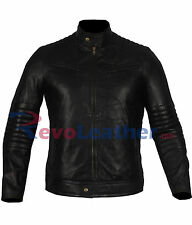 Mens Quilted Sleeves Black Biker Motorcycle Bomber Leather Jacket - Real Leather