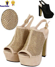 NEW WOMENS LADIES ANKLE PEEPTOE PLATFORM HIGH HEEL CHUNKY SANDALS SHOES SIZE 3-8