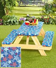 3 PC Picnic Table & Bench Covers Cloths Outdoor Seat Camping Party Elasticized