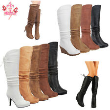Women's Round Toe Sexy Wedge Heel Mid Calf Knee High Lace Up Slouch Zipper Boots