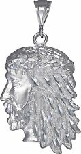 Large Sterling Silver Jesus Charm Pendant Necklace Diamond Cut Finish with Chain