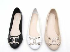 Womens Ladies Ballerina Dolly Shoes Comfy Diamante Gold Flats Cute Size UK 3-8