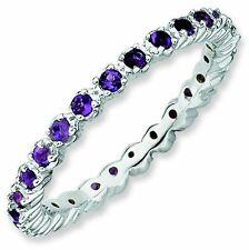 Amethyst 2.25mm Prong Set Eternity Band Sterling Silver Stackable Ring