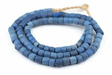 African Faceted Russian Blue Glass Trade Beads (10mm) (Long Strand) Ghana