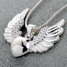 Women Man 925 Silver Angel Heart Pendant Necklace Chain Jewelry Gift