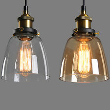 Clear Amber Glass Shade Ceiling Chandelier Vintage Retro Pendant Lamp Light