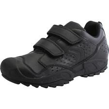 Geox Junior Savage E Black Leather School Shoes