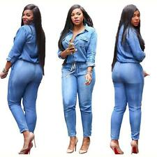 Casual Women's Bodycon Jumpsuit Jeans Denim Rompers Overalls Long Trousers Pants