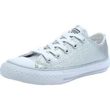 Converse Chuck Taylor All Star Metallic Junior Pure Silver Leather Trainers