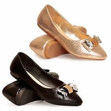 WOMENS LADIES WEDDING BRIDAL EVENING BALLERINA BALLET FLATS DOLLY SHOES SIZE