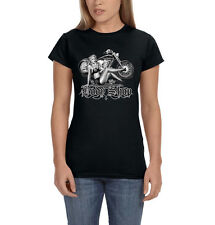Body Shop Motorcycle Chopper Biker Sexy Pin Up Girl Women's T-Shirt Tee