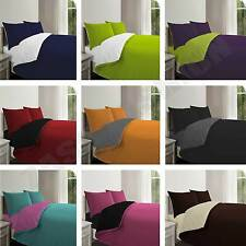 4 Piece Reversible Sided Duvet Cover + Fitted & Pillowcases Complete Bedding Set