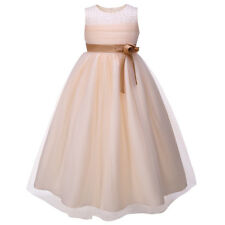 Flower Girl Dress Beaded Tulle Formal Party Ball Gown Wedding Communion Pageant