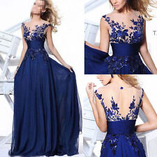NEW Long Wedding Applique Evening Prom Gown Cocktail Party Formal Blue Dress