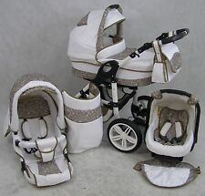 Pram Baby Stroller Pushchair 3in1 ORION + FREE Car seat - Frame WHITE 22 colours