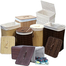 WICKER LAUNDRY BASKET BAMBOO CHEST W/LID LINING RECTANGULAR STORAGE HAMPER TRUNK