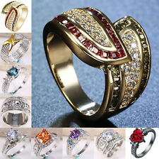 Fashion Women Jewelry 925 Silver Topaz Gemstone Wedding Engagement Ring Size6-12