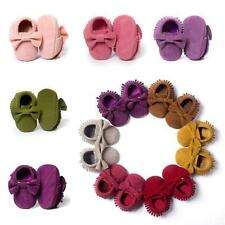 AU Cute Boy Girls Baby Shoes Infant Toddler Tassel Leather Cotton Moccasin 0-18M