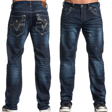 Affliction Blake Classic Gilmore 110RS221 Mens Relaxed Denim Jeans Dark Blue NEW