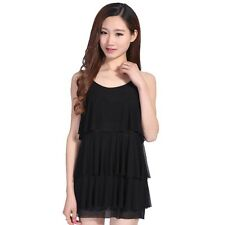 Ladies Tiered Net Vest Casual Sleeveless Tank Tops Loose Blouse Summer Shirt New