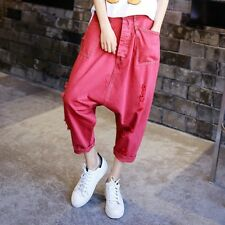 Mens Ladies Harem Trousers Baggy Ripped Loose Drop Crotch Cropped Capri Pants