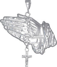 Sterling Silver Praying Hands with Rosary Cross Pendant Necklace 15.2 Grams