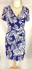 Ronnie Nicole Tea Dress Jersey 16 white Blue Fan print twist drape mock wrap