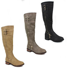 WOMENS LADIES LOW BLOCK HEEL QUILTED ZIP FASHION KNEE HIGH BOOTS SHOES SIZE 3-8