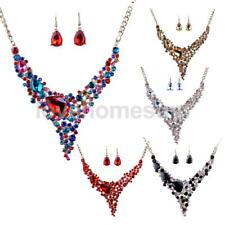 Fashion Wedding Bridal Crystal Statement Collar Necklace Earrings Jewelry Set