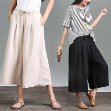Women Culottes Harem Trousers Loose Wide Leg Flared Cropped Tops Pants Oversize