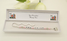 Nursery Assistant Gift. Personalised Pink Bookmark Gift.End Of Term.Thank You.
