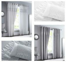 LINED CURTAINS EYELET Luxury Silver Shimmer Diamante Trim Chrome Style Rings
