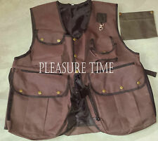 Falconry Brown Hunting Waistcoat,Hawking Vest, 13 Pockets S,M,L,XL PT-2002