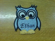1 x Iron 'n' Sew Motif Embroidered Patch Cute Personalised Open Eyes Owl