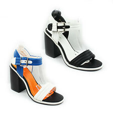 WOMENS LADIES STRAPPY CHUNKY HIGH BLOCK HEEL ANKLE STRAP SHOES SANDALS SIZE 3-8