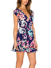NWT YUMI KIM Floral Printed Dress Navy Blue Silk Wrap Around Swingy Small Medium