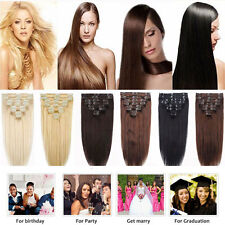 US New Double Weft Clip In Hair Extensions Full Head 8pc 18clips on as Real HAIR